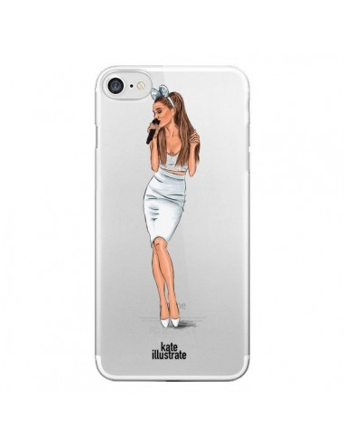 coque iphone 7 8 se 2020 ice queen ariana grande chanteuse singer transparente kateillustrate