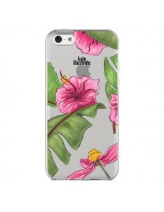 Coque Tropical Leaves Fleurs Feuilles Transparente pour iPhone 5C - kateillustrate
