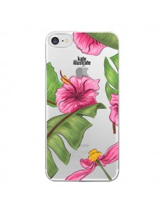 Coque Tropical Leaves Fleurs Feuilles Transparente pour iPhone 7 - kateillustrate