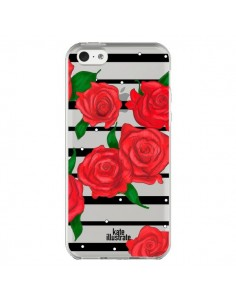 Coque iPhone 5C Red Roses Rouge Fleurs Flowers Transparente - kateillustrate