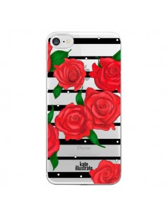 Coque Red Roses Rouge Fleurs Flowers Transparente pour iPhone 7 - kateillustrate