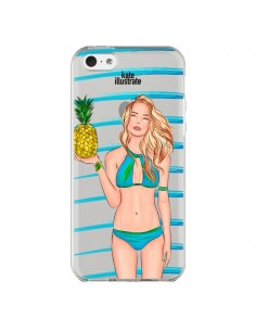 Coque Malibu Ananas Plage Ete Bleu Transparente pour iPhone 5C - kateillustrate