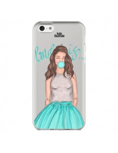 Coque Bubble Girls Tiffany Bleu Transparente pour iPhone 5C - kateillustrate