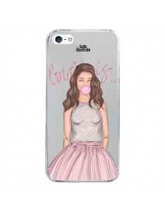 Coque Bubble Girl Tiffany Rose Transparente pour iPhone 5/5S et SE - kateillustrate