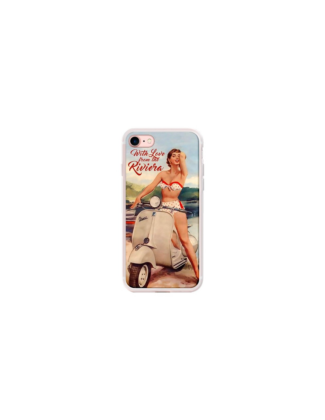 Coque iPhone 7/8 et SE 2020 Pin Up With Love From the Riviera Vespa Vintage - Nico