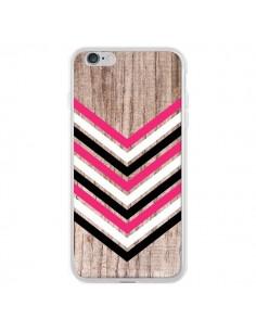 Coque iPhone 6 Plus et 6S Plus Tribal Aztèque Bois Wood Flèche Rose Blanc Noir - Laetitia