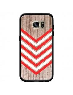 Coque Tribal Aztèque Bois Wood Flèche Rouge Blanc pour Samsung Galaxy S7 Edge - Laetitia