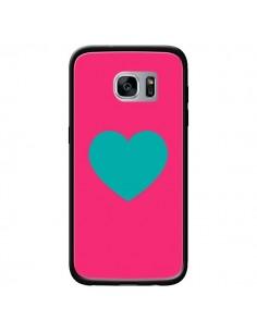 Coque Coeur Bleu Fond Rose pour Samsung Galaxy S7 - Laetitia