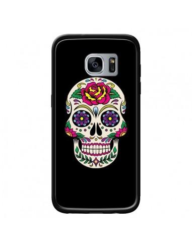 Coque Tête de Mort Mexicaine Multicolore Noir pour Samsung Galaxy S7 - Laetitia