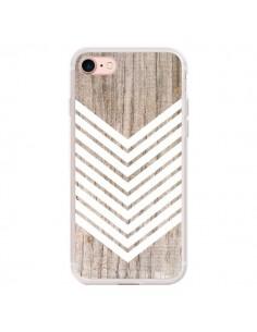 Coque iPhone 7/8 et SE 2020 Tribal Aztèque Bois Wood Flèche Blanc - Laetitia