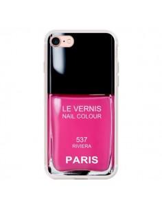 Coque iPhone 7/8 et SE 2020 Vernis Paris Riviera Rose - Laetitia