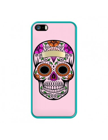 Coque iPhone 5/5S et SE Tête de Mort Mexicaine Rose Multicolore - Laetitia