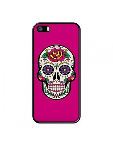 Coque iPhone 5/5S et SE Tête de Mort Mexicaine Rose Fushia - Laetitia