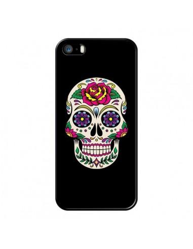 Coque iPhone 5/5S et SE Tête de Mort Mexicaine Multicolore Noir - Laetitia