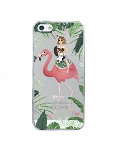 Coque Lolo Love Flamant Rose Chien Transparente pour iPhone 5/5S et SE - Chapo