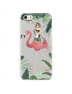 Coque iPhone 5C Lolo Love Flamant Rose Chien Transparente - Chapo
