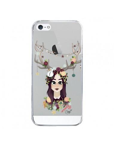 Coque iPhone 5/5S et SE Christmas Girl Femme Noel Bois Cerf Transparente - Chapo