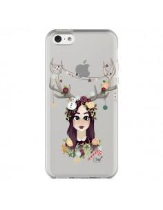 Coque Christmas Girl Femme Noel Bois Cerf Transparente pour iPhone 5C - Chapo