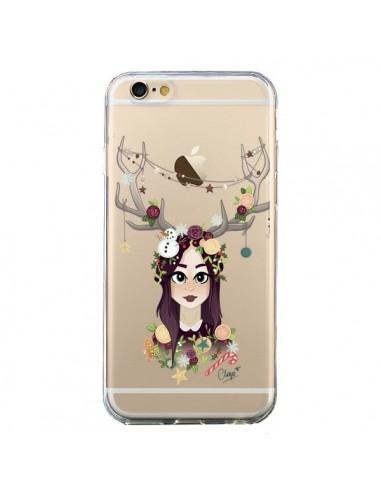 Coque Christmas Girl Femme Noel Bois Cerf Transparente pour iPhone 6 et 6S - Chapo