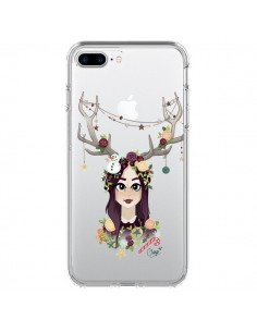 Coque Christmas Girl Femme Noel Bois Cerf Transparente pour iPhone 7 Plus - Chapo