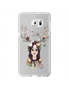 Coque Christmas Girl Femme Noel Bois Cerf Transparente pour Samsung Galaxy S6 Edge Plus - Chapo