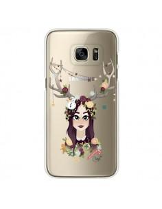 Coque Christmas Girl Femme Noel Bois Cerf Transparente pour Samsung Galaxy S7 Edge - Chapo