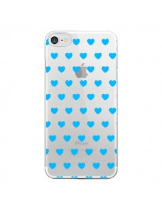 Coque Coeur Heart Love Amour Bleu Transparente pour iPhone 7 - Laetitia
