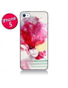 Coque Bright Pink Portrait Femme pour iPhone 5 - Jenny Liz Rome