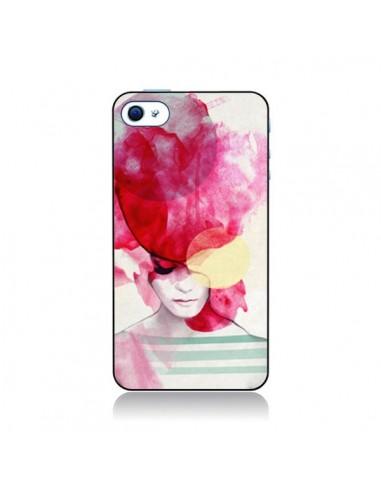 Coque Bright Pink Portrait Femme pour iPhone 4 et 4S - Jenny Liz Rome