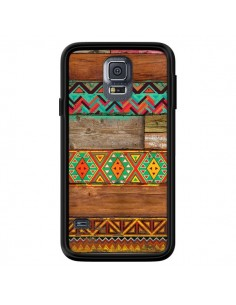 Coque Indian Wood Bois Azteque pour Samsung Galaxy S5 - Maximilian San