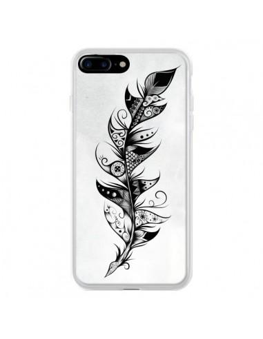Coque Feather Plume Noir et Blanc pour iPhone 7 Plus et 8 Plus - LouJah