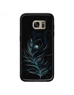 Coque Feather Plume Noir Bleu pour Samsung Galaxy S7 Edge - LouJah