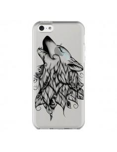 Coque iPhone 5C Loup Hurlant Transparente - LouJah