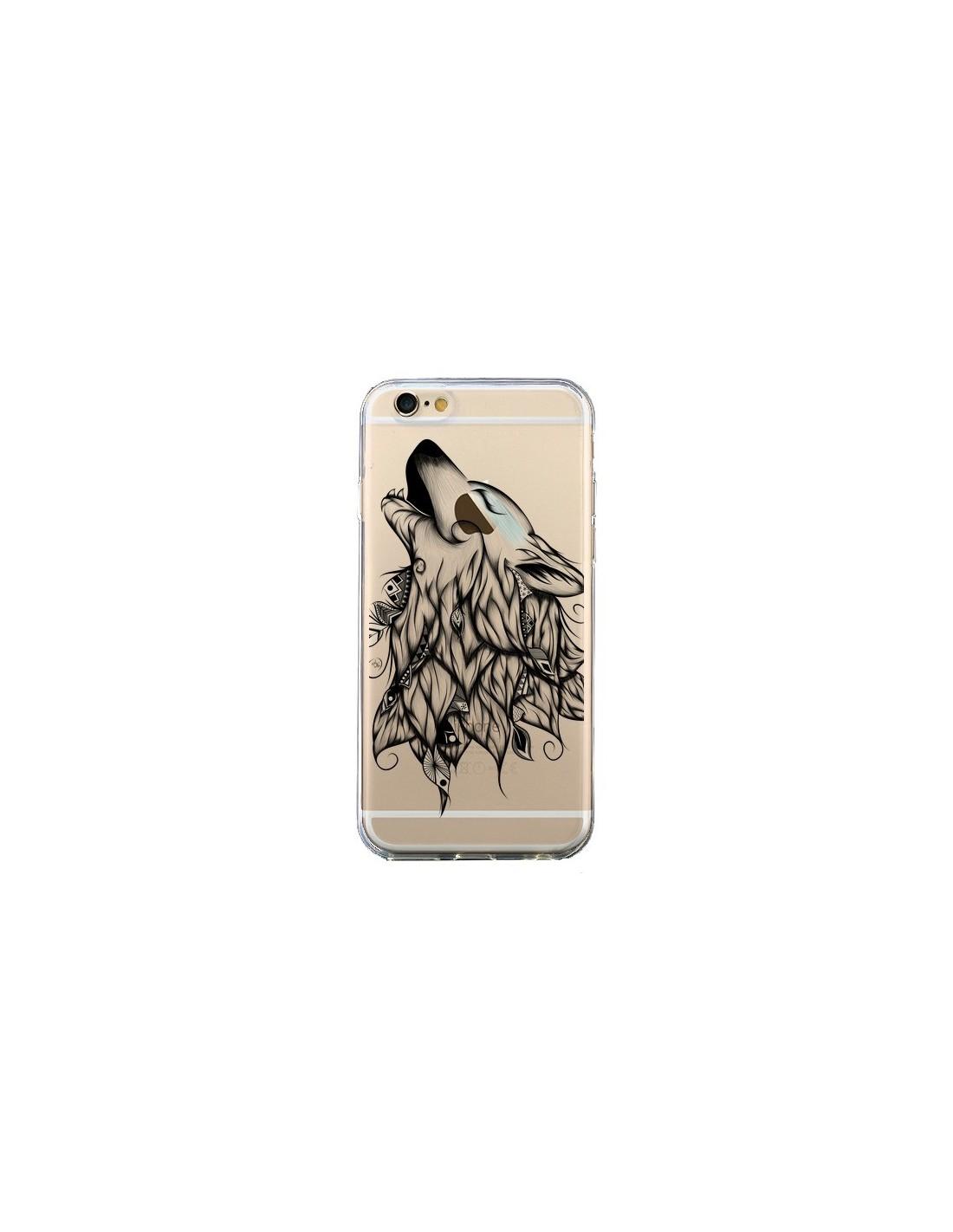 coque iphone 6 et 6s loup hurlant transparente loujah