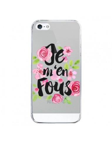 Coque Je M'en Fous Fleurs Transparente pour iPhone 5/5S et SE - Maryline Cazenave