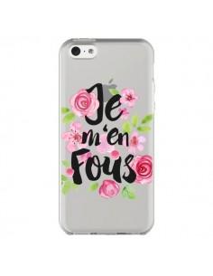 Coque iPhone 5C Je M'en Fous Fleurs Transparente - Maryline Cazenave