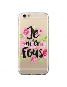 Coque Je M'en Fous Fleurs Transparente pour iPhone 6 et 6S - Maryline Cazenave