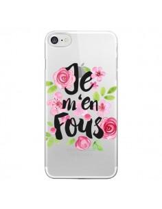 Coque Je M'en Fous Fleurs Transparente pour iPhone 7 - Maryline Cazenave