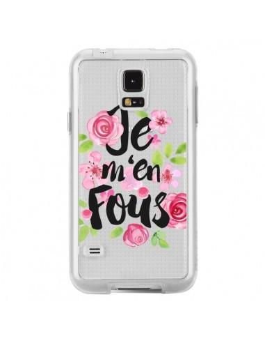 Coque Je M'en Fous Fleurs Transparente pour Samsung Galaxy S5 - Maryline Cazenave