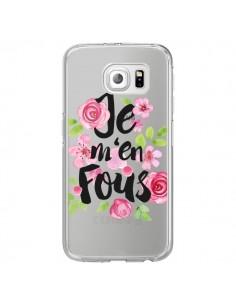 Coque Je M'en Fous Fleurs Transparente pour Samsung Galaxy S6 Edge - Maryline Cazenave