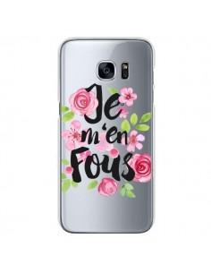 Coque Je M'en Fous Fleurs Transparente pour Samsung Galaxy S7 - Maryline Cazenave
