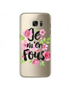 Coque Je M'en Fous Fleurs Transparente pour Samsung Galaxy S7 Edge - Maryline Cazenave