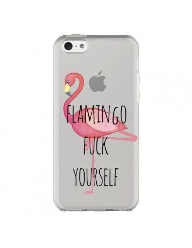 Coque Flamingo Fuck Transparente pour iPhone 5C - Maryline Cazenave