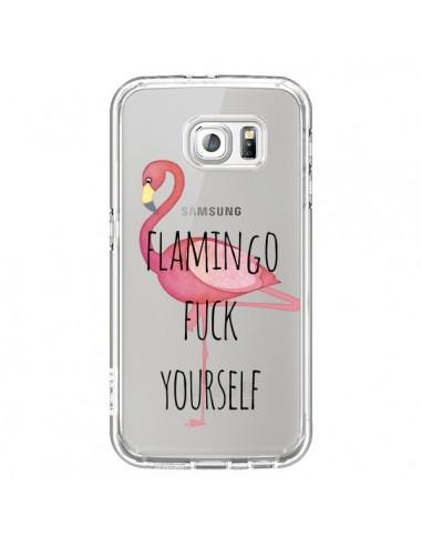 Coque Flamingo Fuck Transparente pour Samsung Galaxy S6 - Maryline Cazenave
