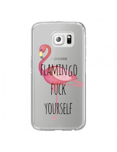 Coque Flamingo Fuck Transparente pour Samsung Galaxy S6 Edge - Maryline Cazenave