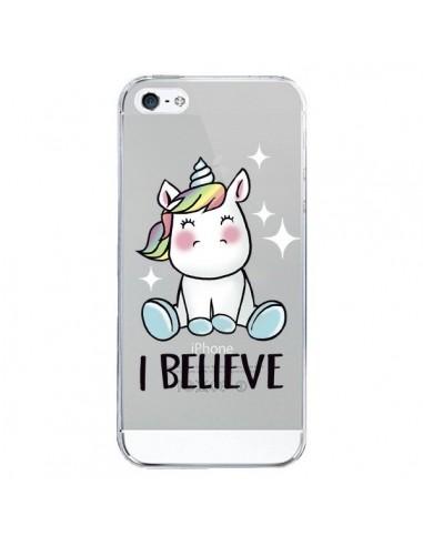 Coque iPhone 5/5S et SE Licorne I Believe Transparente - Maryline Cazenave