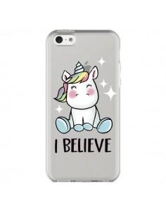 Coque iPhone 5C Licorne I Believe Transparente - Maryline Cazenave