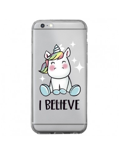 Coque iPhone 6 Plus et 6S Plus Licorne I Believe Transparente - Maryline Cazenave