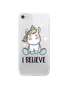 Coque iPhone 7/8 et SE 2020 Licorne I Believe Transparente - Maryline Cazenave