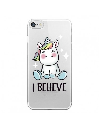 Coque iPhone 7 et 8 Licorne I Believe Transparente - Maryline Cazenave
